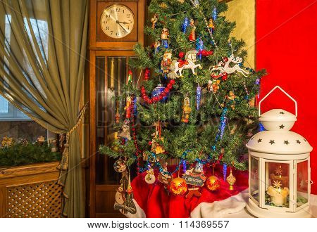 Christmas Tree Decorated With Christmas Toys.