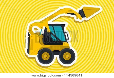 Yellow small digger builds roads