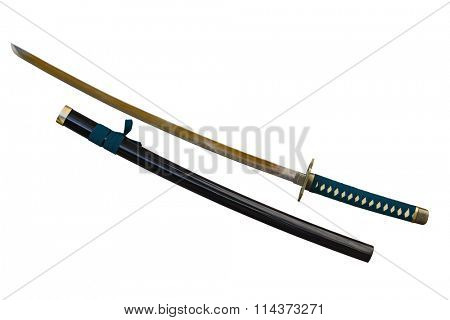 Japanese sword takana and Scabbard isolated on white
