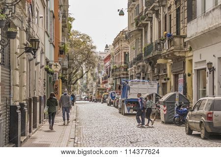 Traditional Street Of San Telmo In Buenos Aires