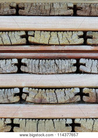 Stack of old wooden boards