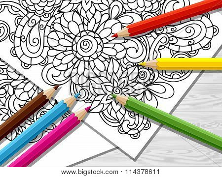 Adult coloring concept with pencils, printed pattern. Illustration of trend item to relieve stress a