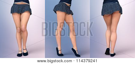 Slim sexy girl's legs in light summer short skirt billowing and soft comfortable sandals. Set of three charming poses. Creative illustration. 3D rendering. poster