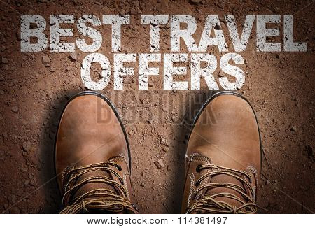 Top View of Boot on the trail with the text: Best Travel Offers