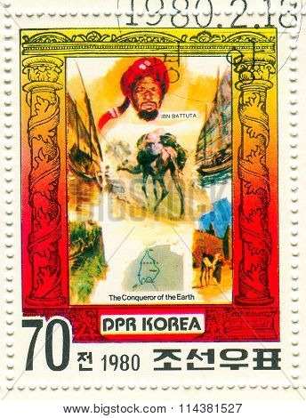 GOMEL,BELARUS - JANUARY 2016: A stamp printed in North Korea shows image of the Conqueror of the Earth, circa 1980.