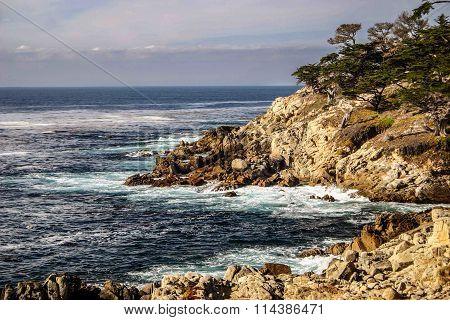 View along the California Rocky Coast