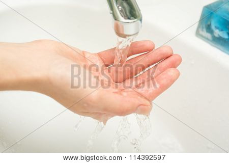 Hygiene. Cleaning Hands. Washing Hands With Soap And Water.