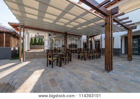Beautiful terrace lounge with pergola