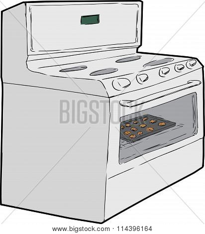 Single Oven With Cookies Inside