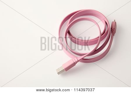 Folded USB cable for smartphone isolated on white background