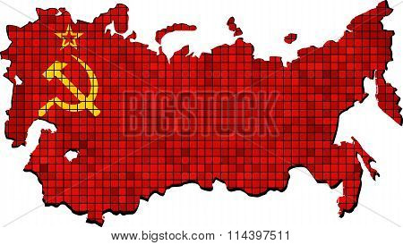 Soviet Union Map With Flag Inside.eps