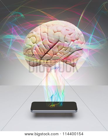 Human brain communicating with smart phone