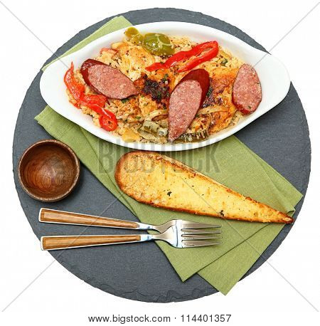 Voodoo Spicy Cajun Chicken and Sausage with Rice and Garlic Bread