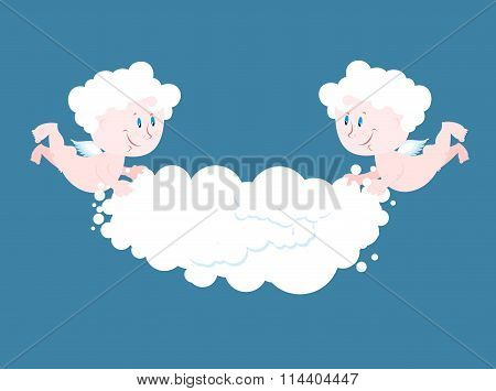 Angel And Cloud. Two Little Angels Keep Cloud. Place For Your Text. Celestial Cute Kids In Clouds. L