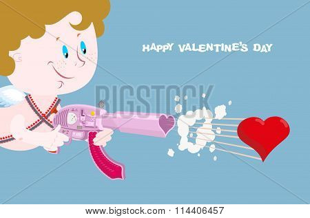 Valentine. Greeting Card For Valentines Day. Cupid With Arms Of Love.  Love Gun. Automatic Gun Loade