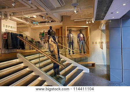 HONG KONG - DECEMBER 25, 2015:  interior of Esprit store. Esprit Holdings Limited is a publicly owned manufacturer of clothing, footwear, accessories, jewellery and housewares under the Esprit label