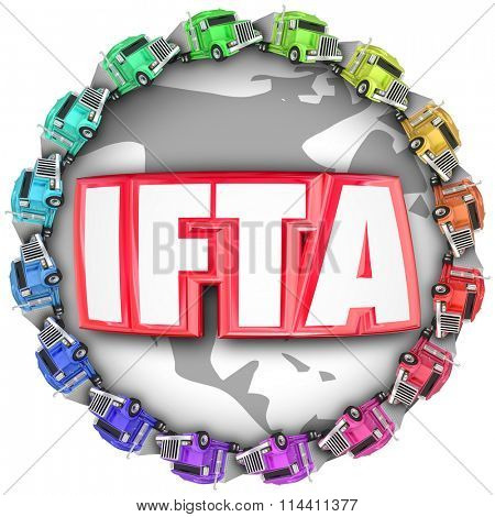 IFTA letters for acronym or abbreviation of International Fuel Tax Agreement on a globe with trucks around it for international imports or exports of shipments