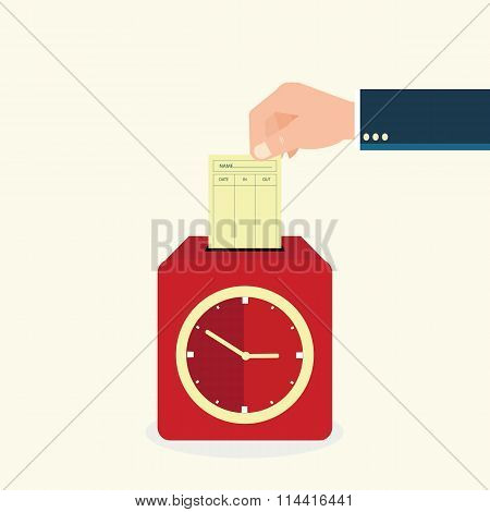 Hand Putting Paper Card In Time Recorder Machine.