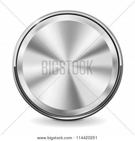 Steel Round Button With Chrome Frame.