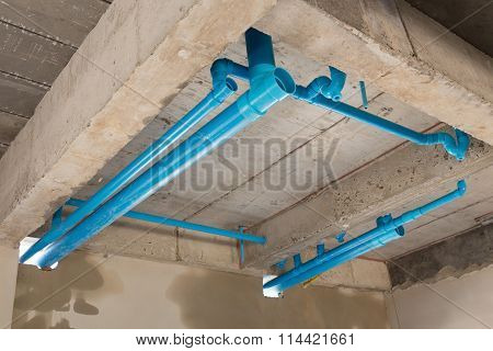 Water Pipes Pvc Plumbing Under Cement Ceiling Of Second Floor In Construction Site Building