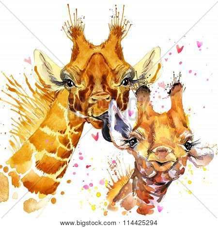 Watercolor Giraffe illustration. Cute giraffe. Giraffe family. Love card. Valentine poster