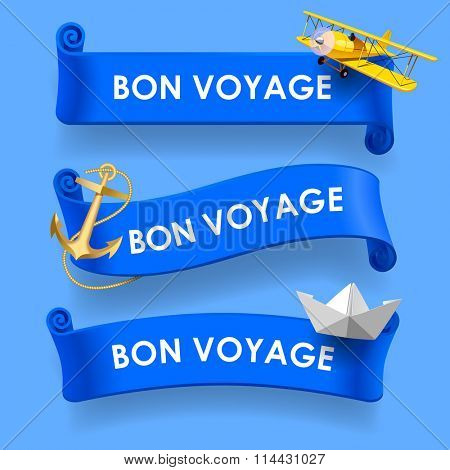 Set of blue ribbons with wishes 'Bon voyage', yellow plane, gold anchor and paper boat. Vector illustration