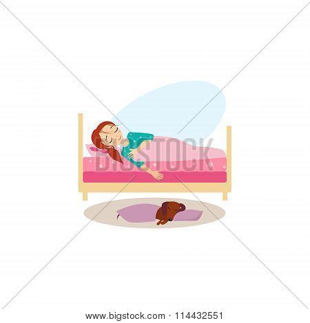 Sleeping. Daily Routine Activities of Women. Vector Illustration