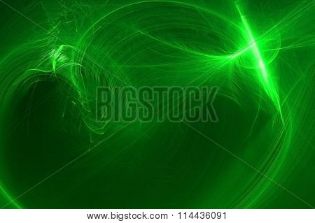 Green Circular Wave Glow. Lighting Effect Abstract Background For Your Business.