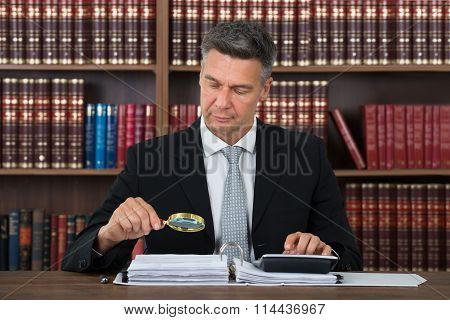 Accountant Scrutinizing Financial Documents In Office