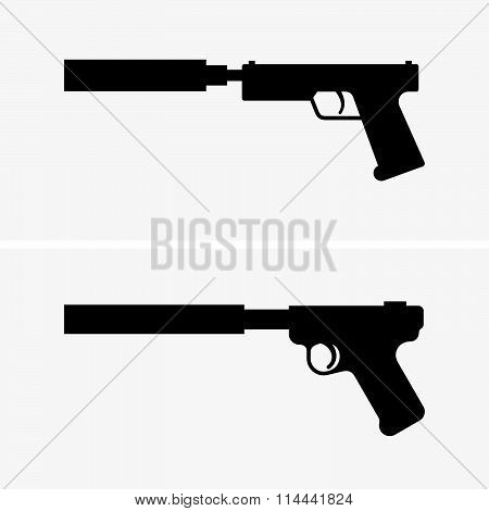 Pistols with silencer