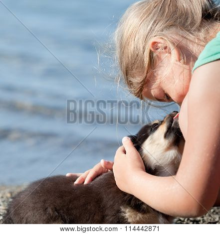Puppy Licks Child's Nose