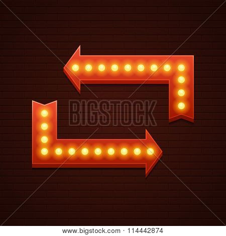 Arrows Cinema Signage Light Bulbs Frame and Neon Lamps on brick wall background