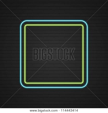 Retro Showtime Sign Design. Neon Signage Light Frame on brick wall background.