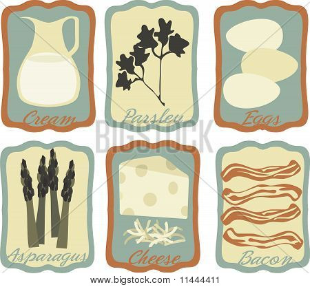 Retro quiche breakfast food framed icons