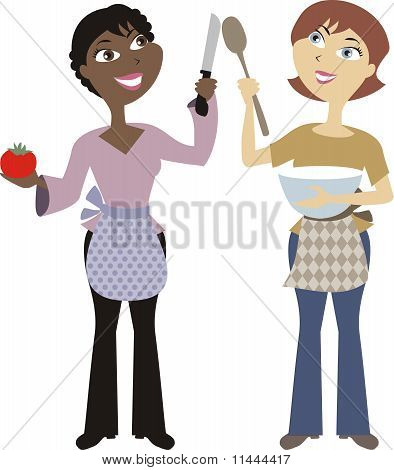 Diversity women cooking and baking