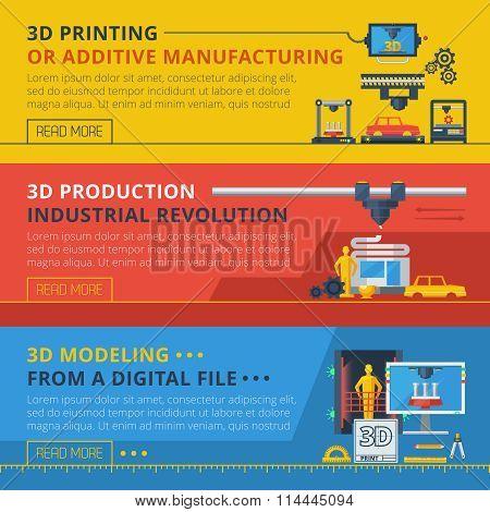 3D Printing Flat Horizontal Banners Set