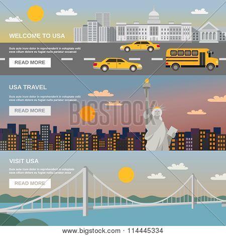 Flat Banners Set USA TRavel Information