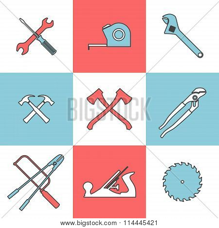 Flat line icons set of handtools