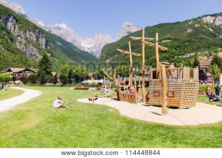Playground Structures With Natural Wood.