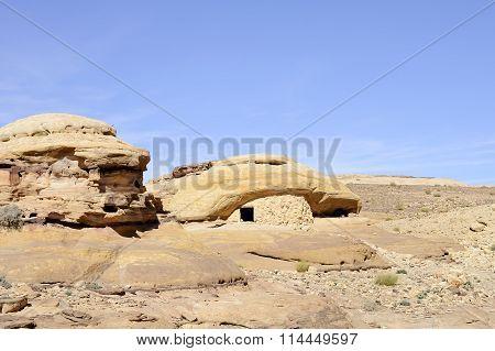 Sandstone Rocks In Jordan Desert.