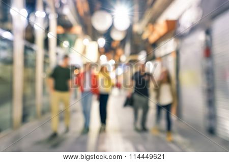 Blurred Defocused Abstract Background Of People Walking On The Street By Night With - Nightlife Conc