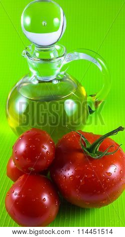 Red tomato and olive oil