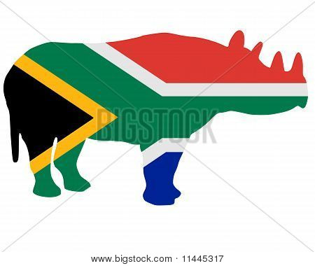 Detailed and colorful illustration of southafrican rhino poster