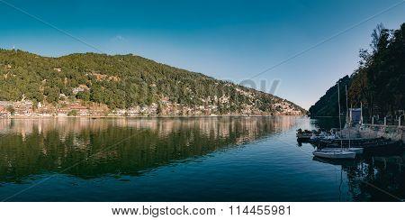 A beautiful panoramic landscape of Naini Lake.