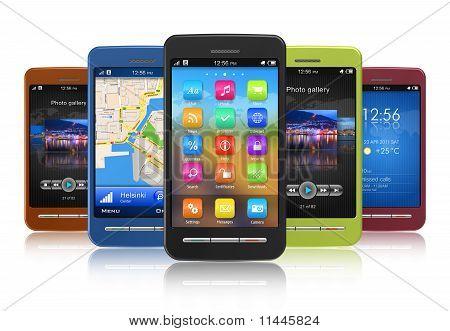 Reihe von Touchscreen-smartphones