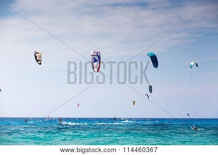 Kitesurfers On The Milos Beach In Lefkada, Greece