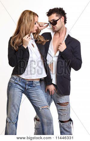 Sexy Woman Touches Her Boyfriend