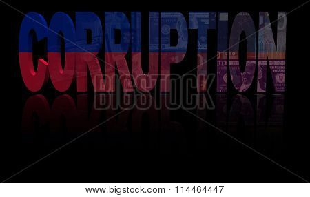 Corruption text with Haitian flag and currency illustration