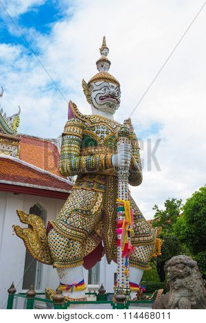 White  Giant Statue  Of The Temple Thailand