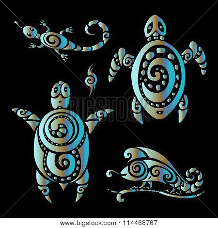 Turtle and Lizards. Polynesian tattoo style.